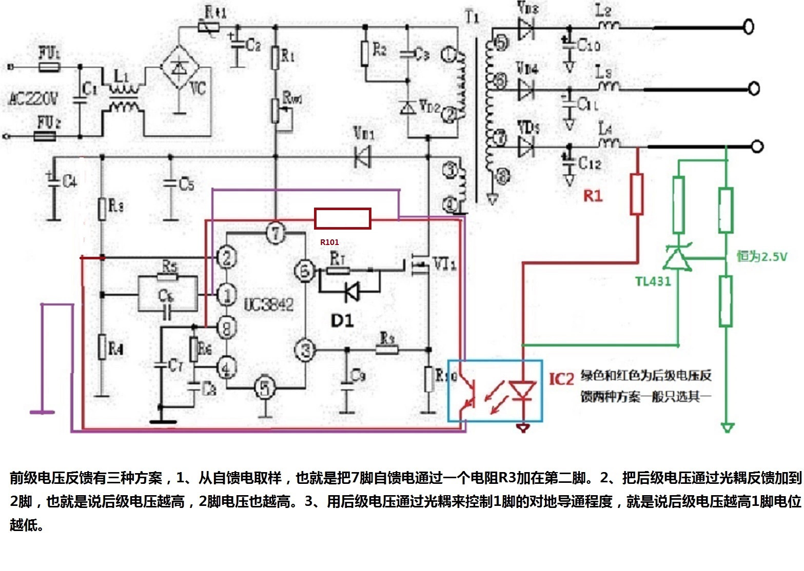 先再来说开关电源的9大部分: 1、整流滤波电路,作用是把220V交流电转变为三百伏直流电。 2、启动电路,作用是给UC3842一个启动电流,一般通过300V大电容,加一个大电阻降压以后实现。 3、振荡电路,作用是为UC3842提供一个工作频率,通过在第4脚上加适当的电容和电阻来实现,本质就是通过电容的反复充放电过程来给UC3842一个基本的工作频率。(PS:UC3842为定时脚,其上接一个电容(下图中C8),第8脚再通过一个电阻(下图中R6)给电容充电,当电压上升2.