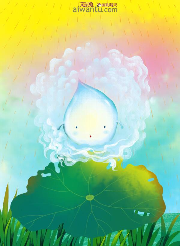 儿童插画; 绘本小故事《小水滴》