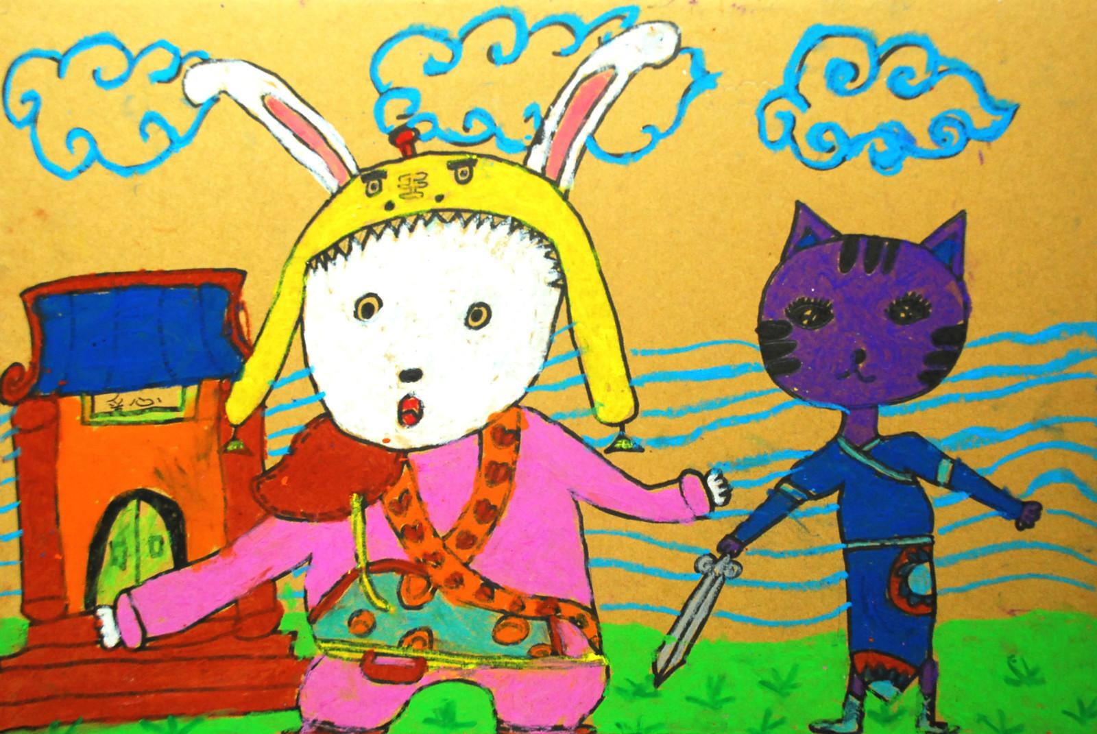 小金猫(一种动物)儿童画四年级小学生画的漂亮无比的