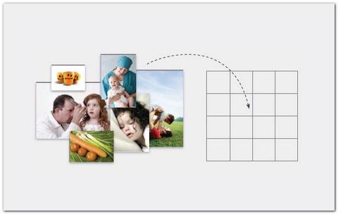 正方形网格:有时你在设计封面时很难找到一张完全合你心意的照片,那么