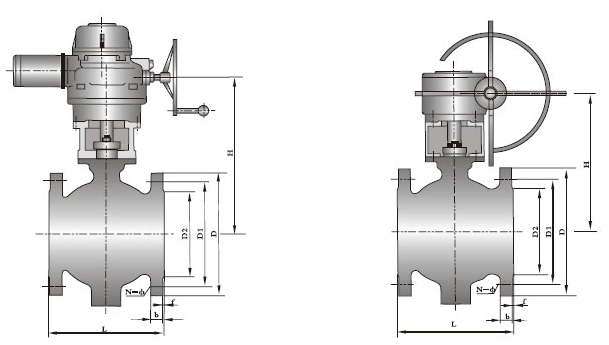 v型球阀产品结构图及常用尺寸规格