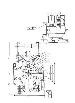 电动回转式调节阀结构图及常用规格尺寸