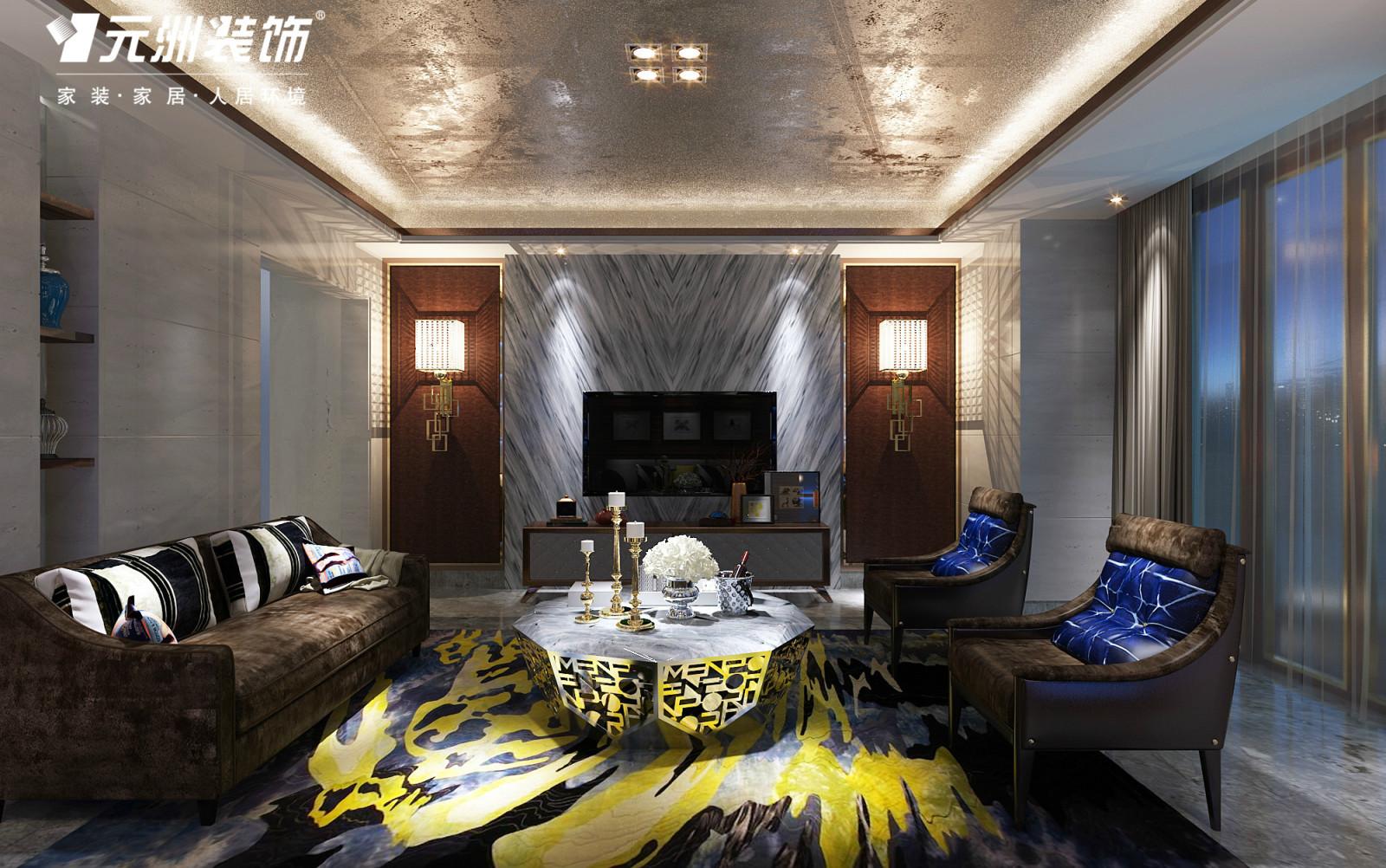 仁恒别墅装修效果图---现代轻奢华风格--元洲装饰出品
