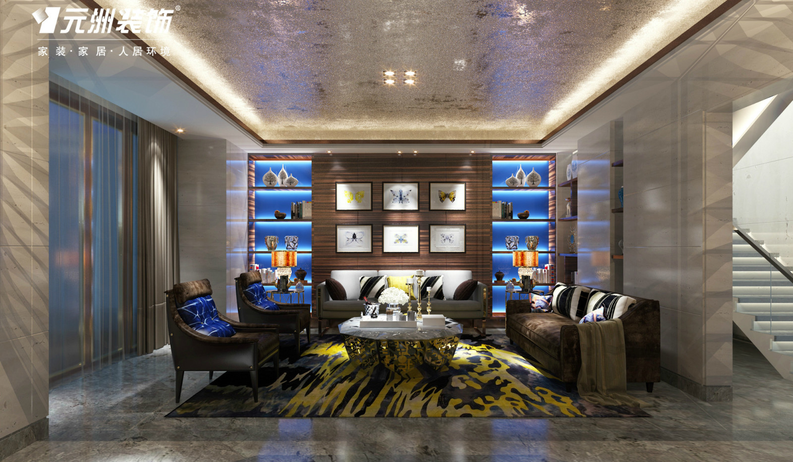 仁恒别墅装修效果图---现代轻奢华风格--元洲装饰
