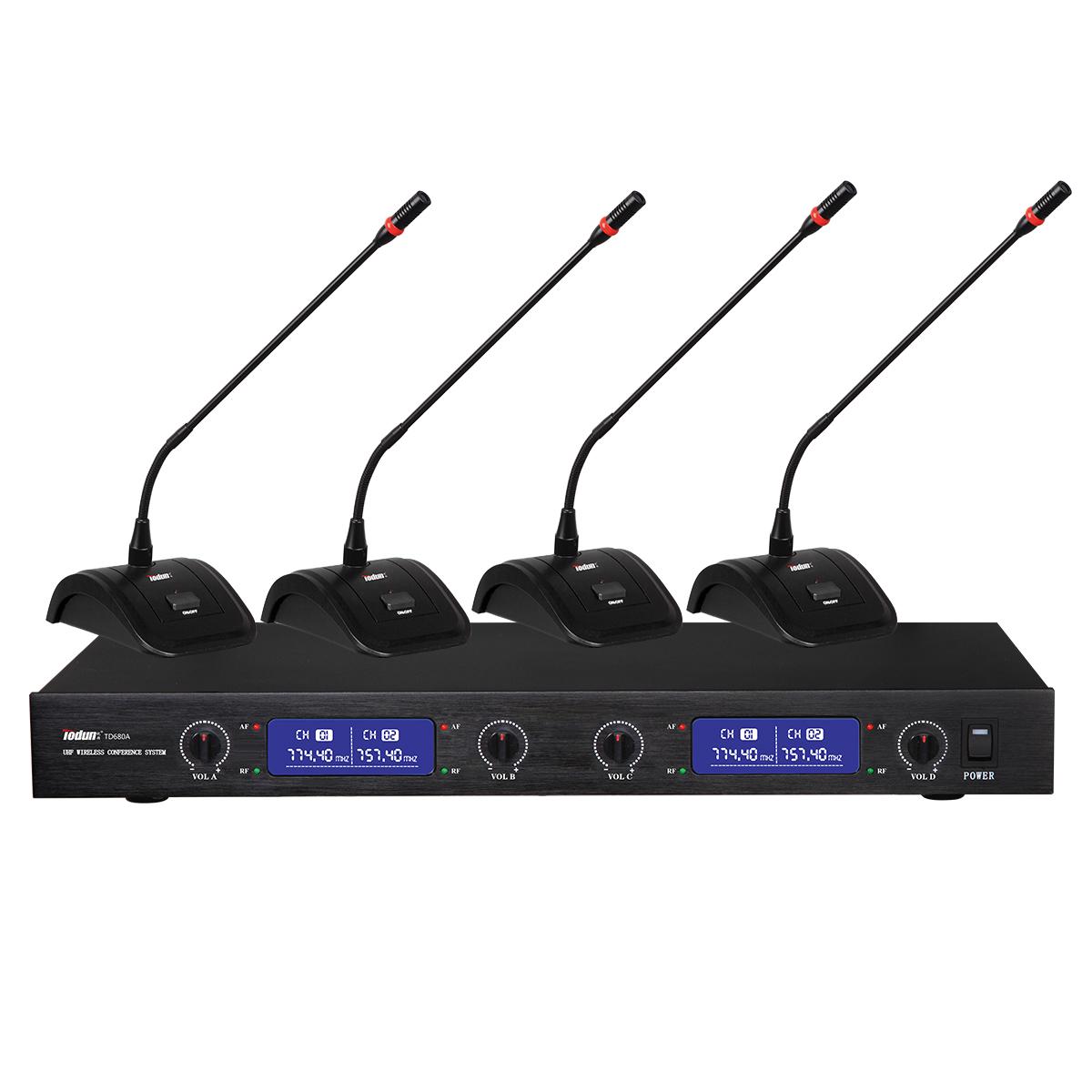 托顿TD680A 无线鹅颈话筒 U段定频 一拖四无线会议系统