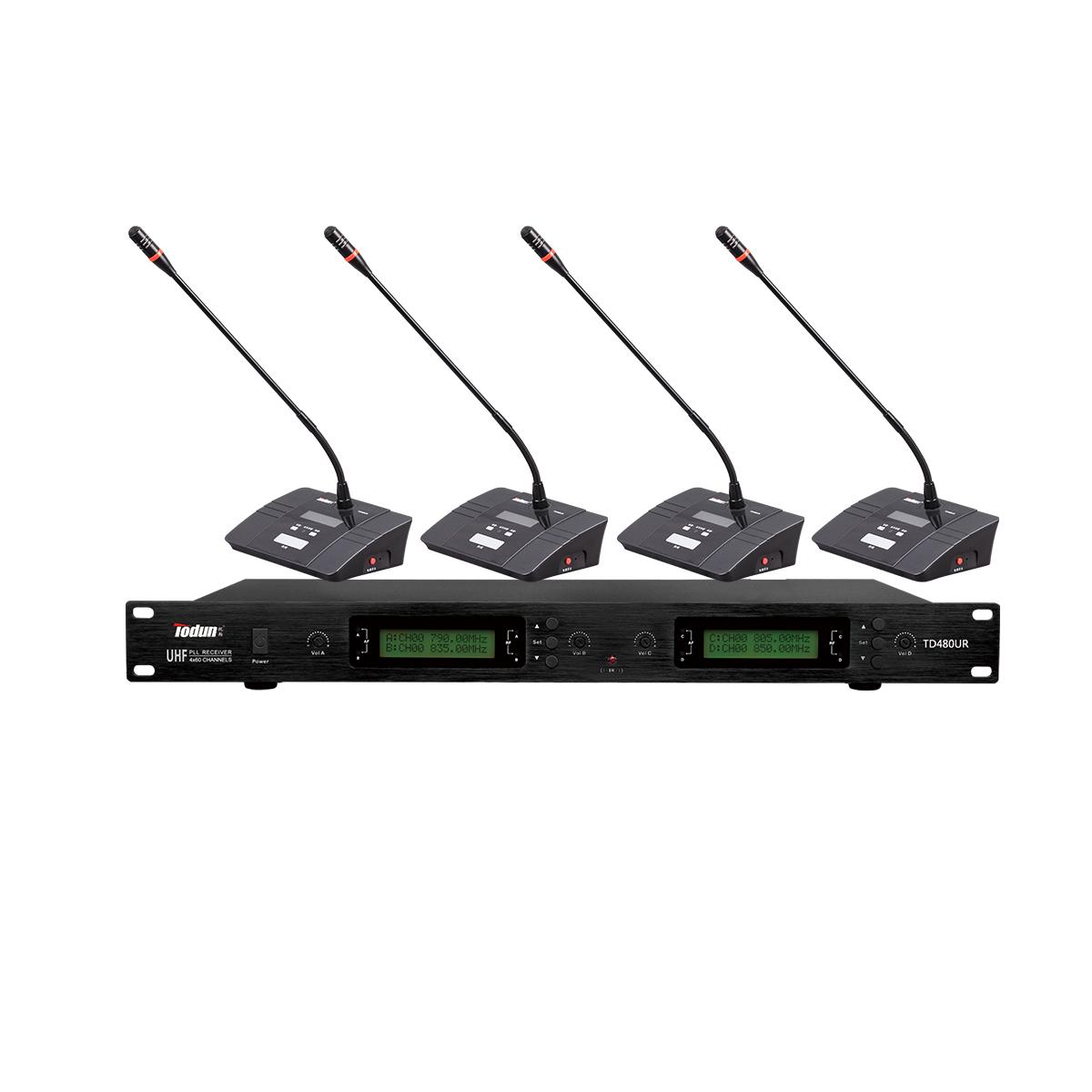托顿TD480UR 无线鹅颈话筒 U段 一拖四无线会议系统
