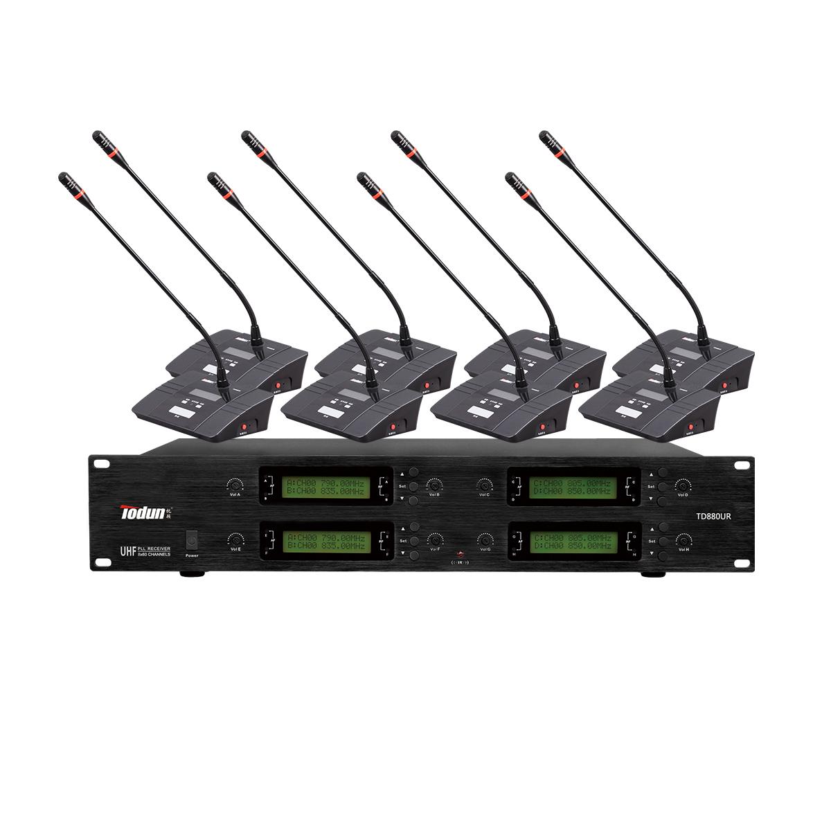 无线鹅颈话筒 一拖八无线会议系统U段TD880UR  专业会议音响系统工程 托顿电子