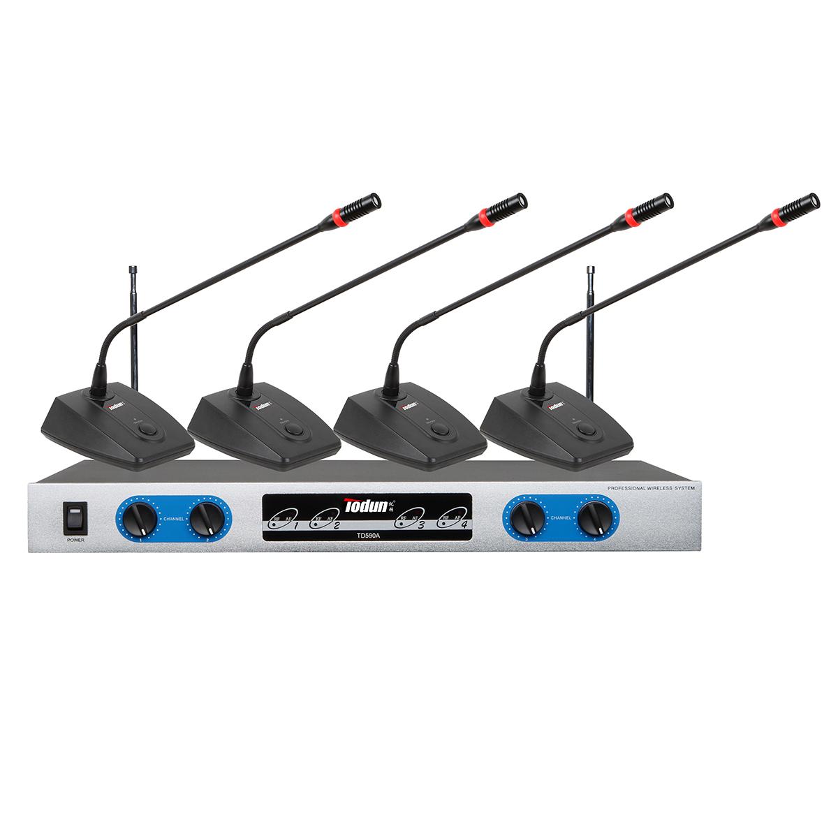 V段定频 无线会议话筒 鹅颈话筒TD590A会议系统 托顿一拖四套无线麦克风
