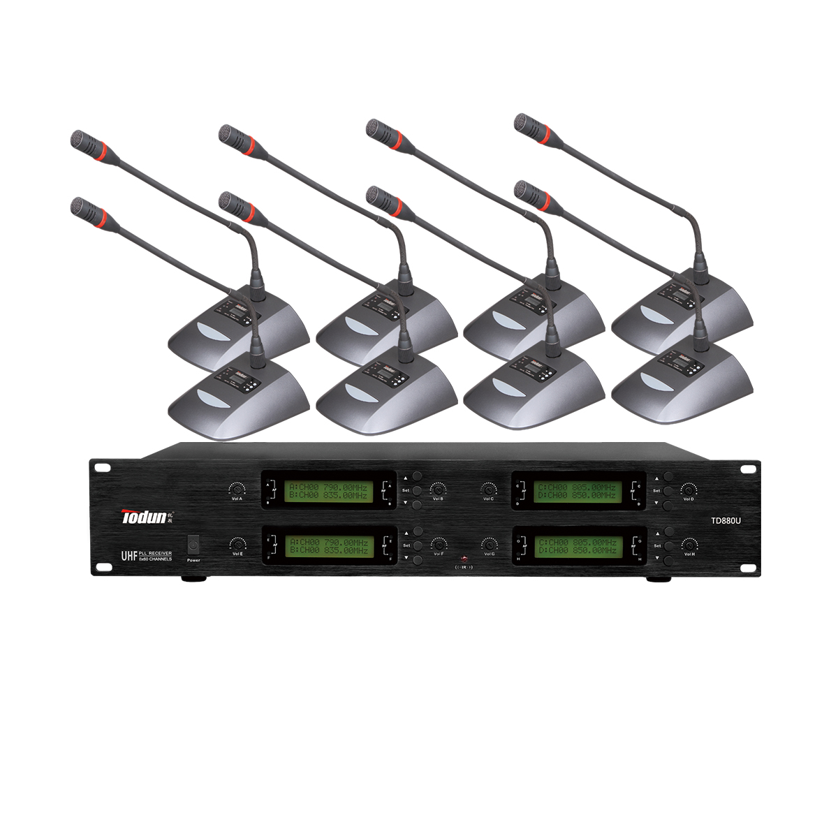 托顿TD880U 无线鹅颈话筒 U段 一拖八无线会议系统