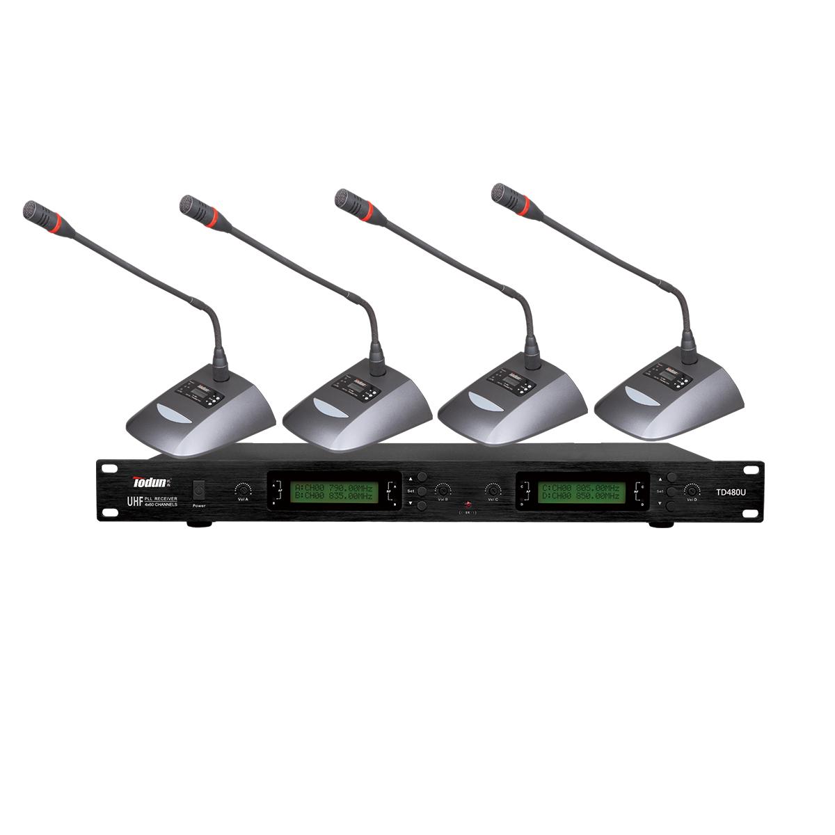 托顿TD480U 无线鹅颈话筒 U段 一拖四无线会议系统