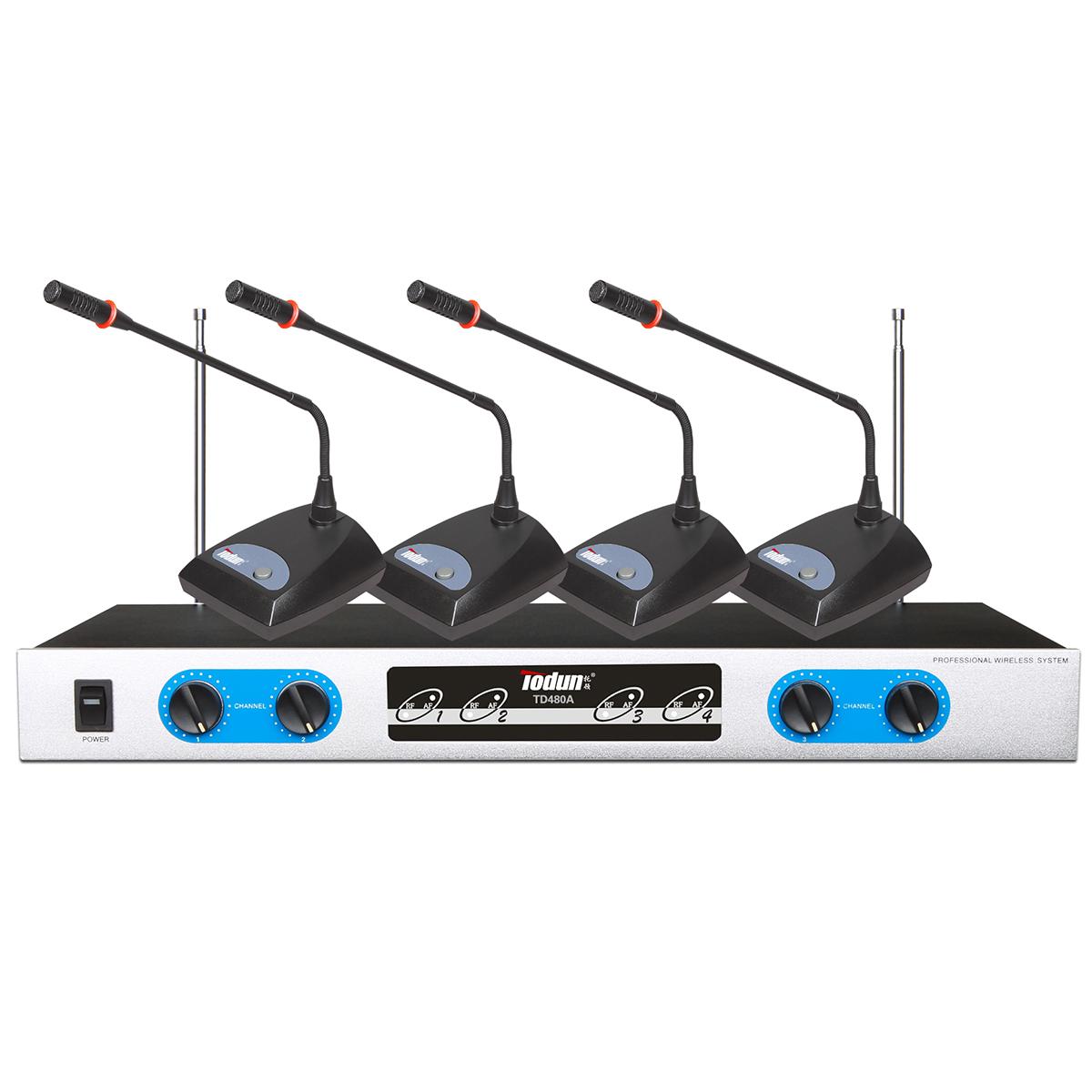 会议室工程 多媒体室 1拖4无线会议系统TD480A 中小型功能厅无线会议话筒设备