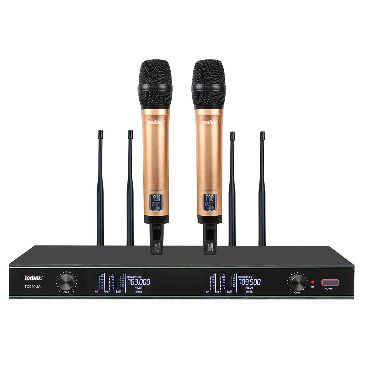无线话筒一拖二【真分集】TD990UA 手持话筒领夹无线麦克风远距离专业话筒