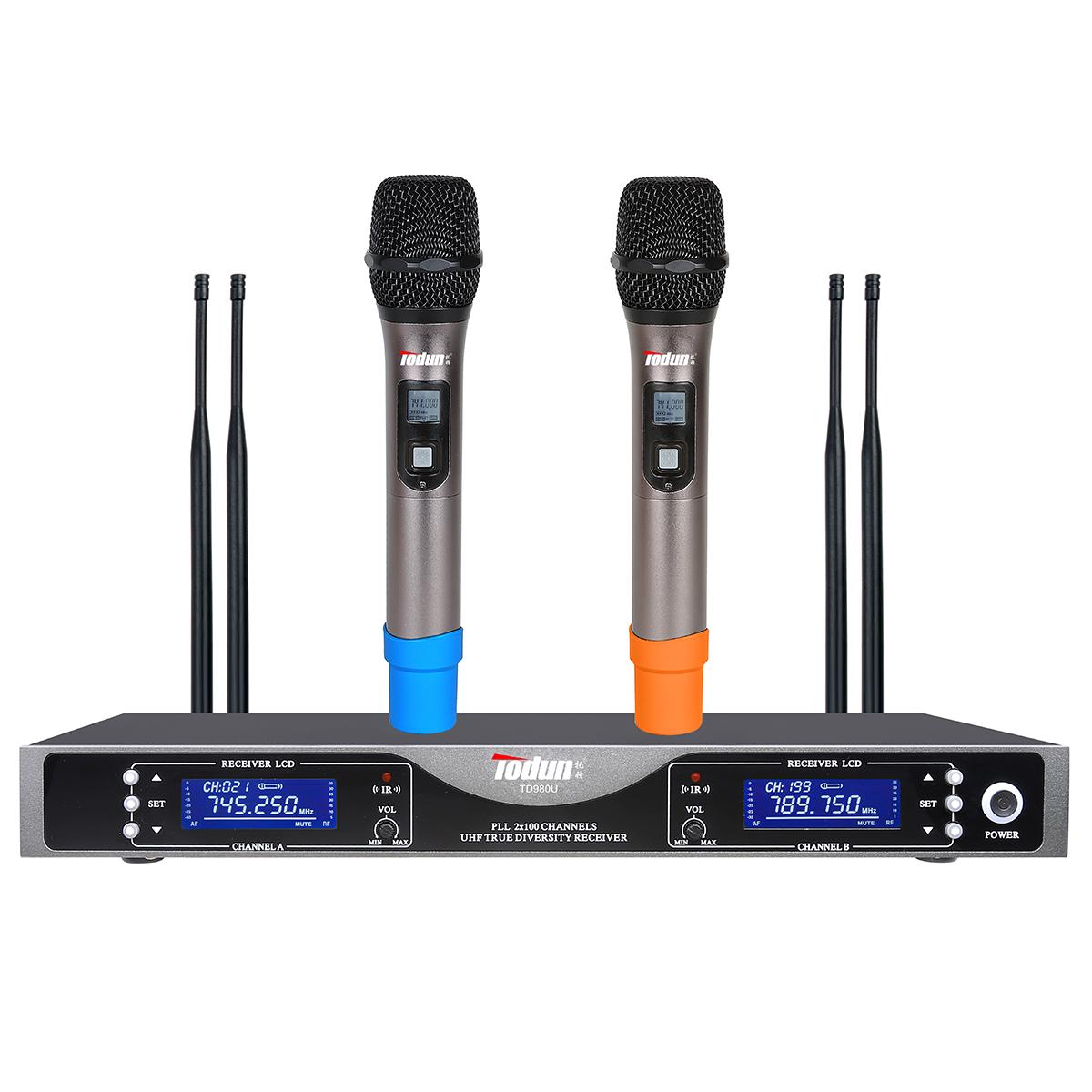 无线话筒一拖二 UHF【真分集】TD980U 动圈麦克风 K歌麦克风 演出舞台专用