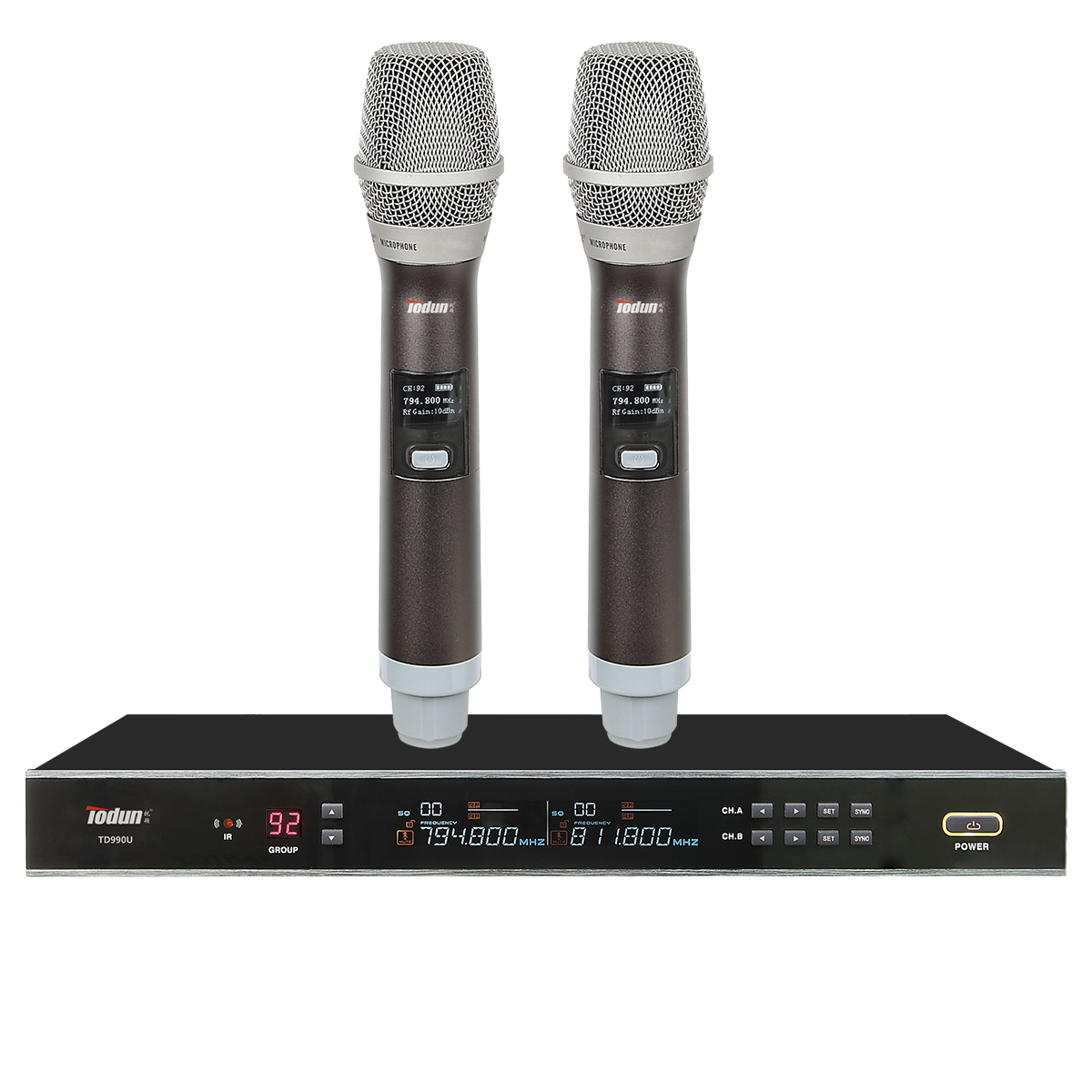 无线话筒 专业ktv 真分集TD990U一拖2手持无线麦克风 卡拉OK话筒 UHF频段