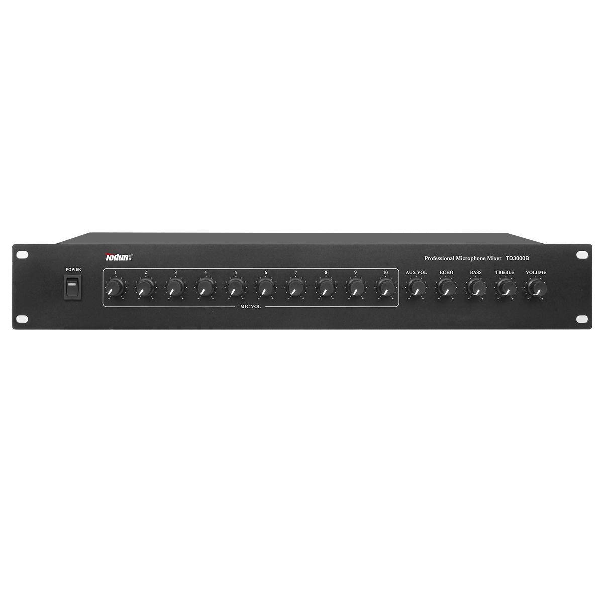 10路集线器 TD3000B 10路麦克风不平衡输入 前置放大 立体声输出 会议均衡调节