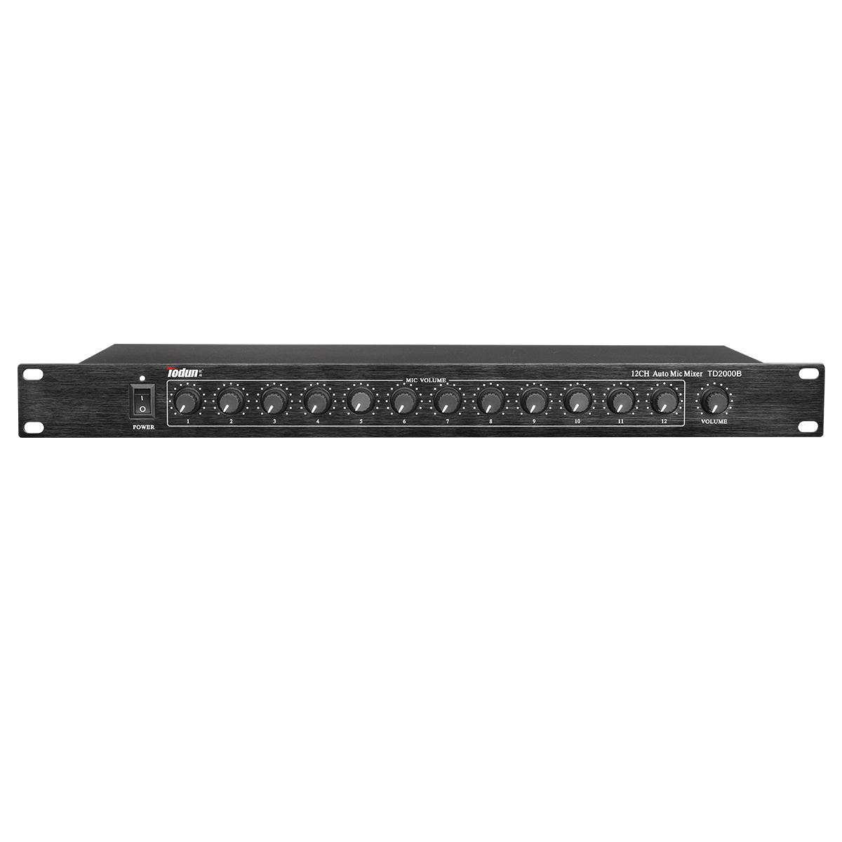 12路集线器 TD2000B 会议均衡调节12路输入 功能 话筒单独音量、总音量带开关