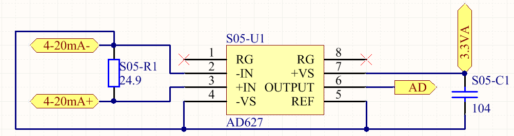 在pcb图中引入4-20ma电流采样电路的pcb