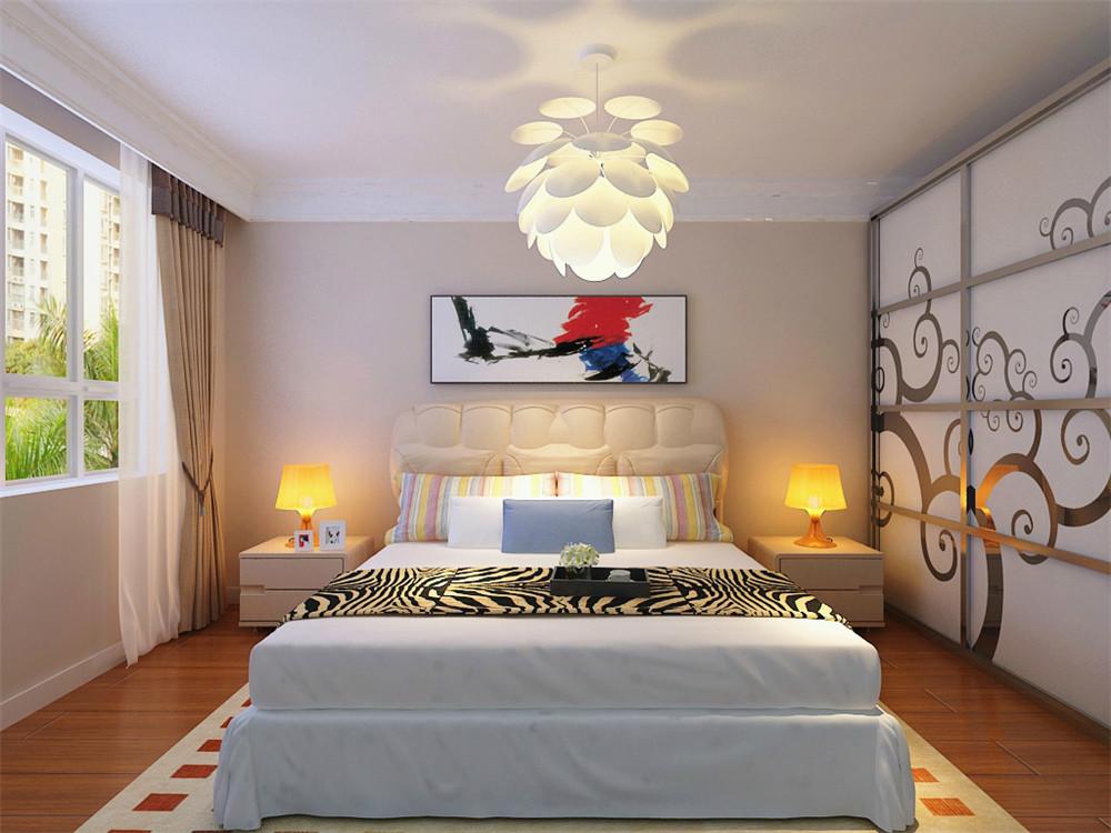 主卧的床头背景墙是用石膏板圈边两侧是壁纸,中间则是软包和画为主