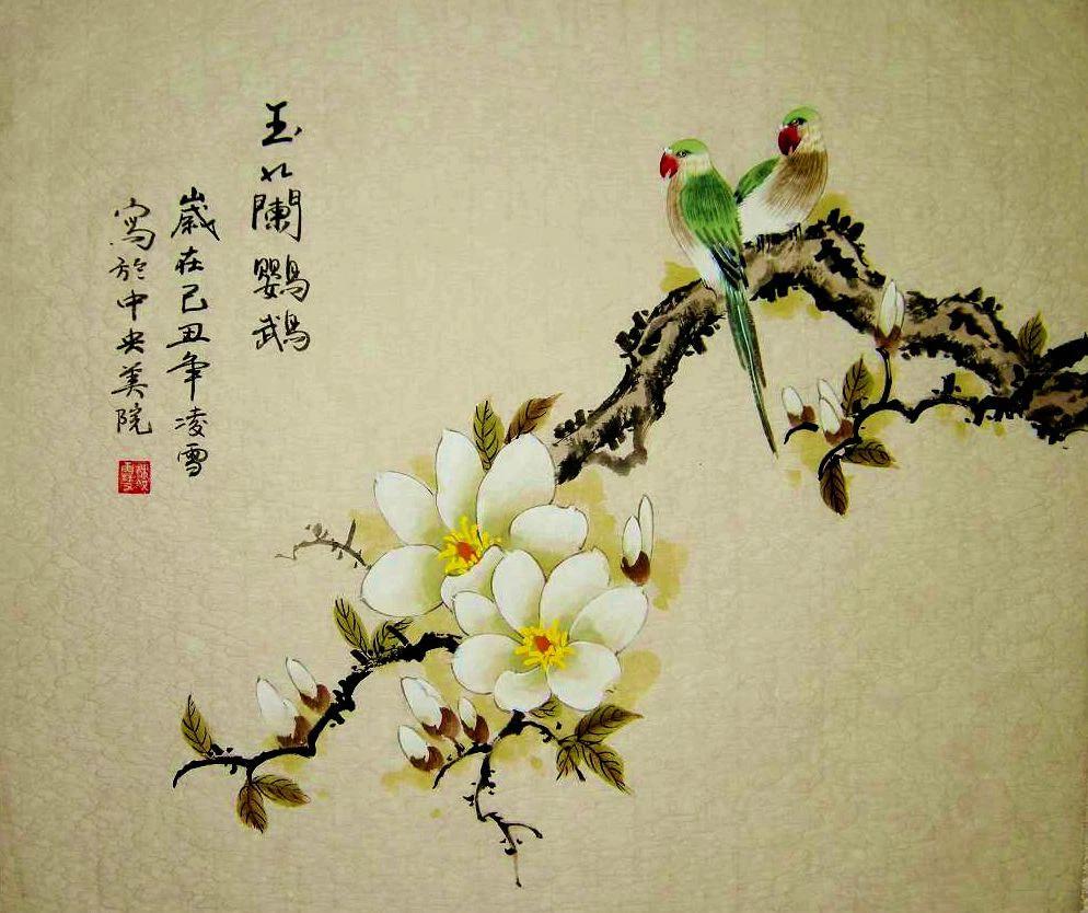 精美工笔画欣赏-玉兰花