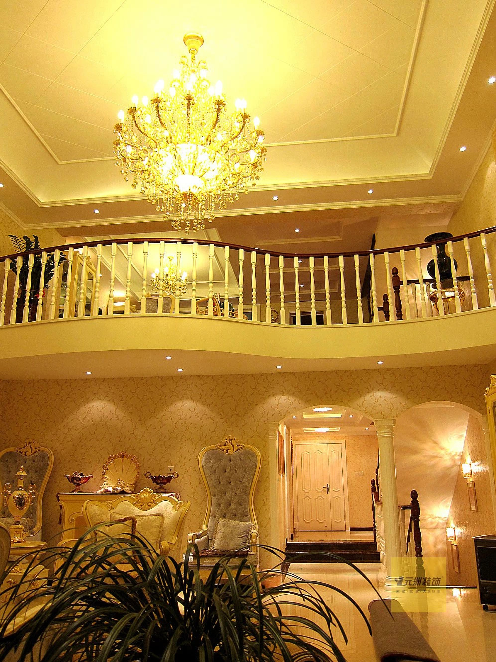 500平米叠拼别墅-欧式风格装修设计-实景图分享-吊灯