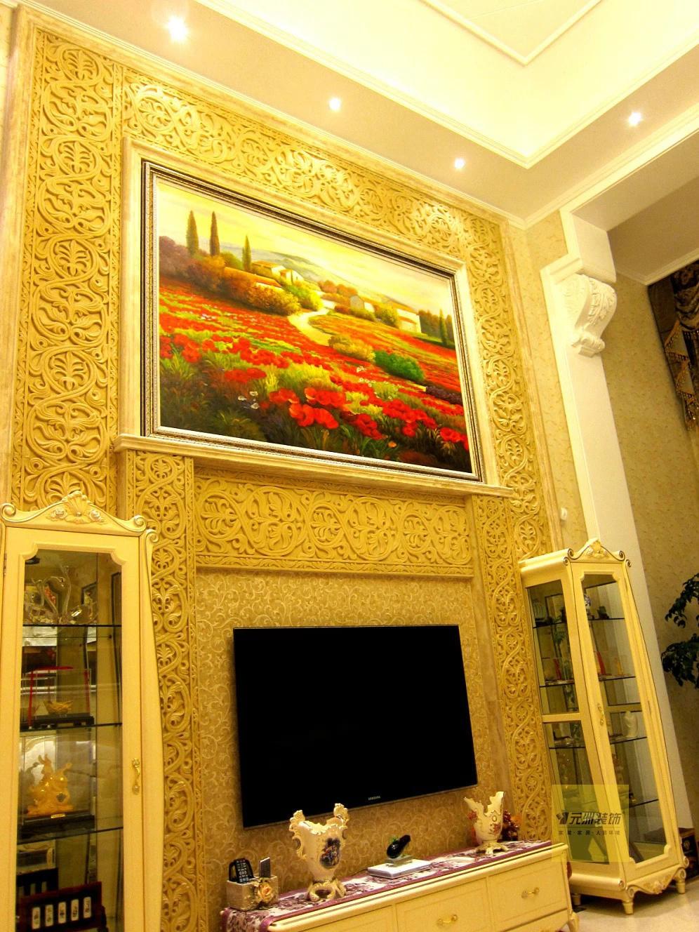叠拼别墅-欧式风格装修设计-实景图分享-电视背景墙