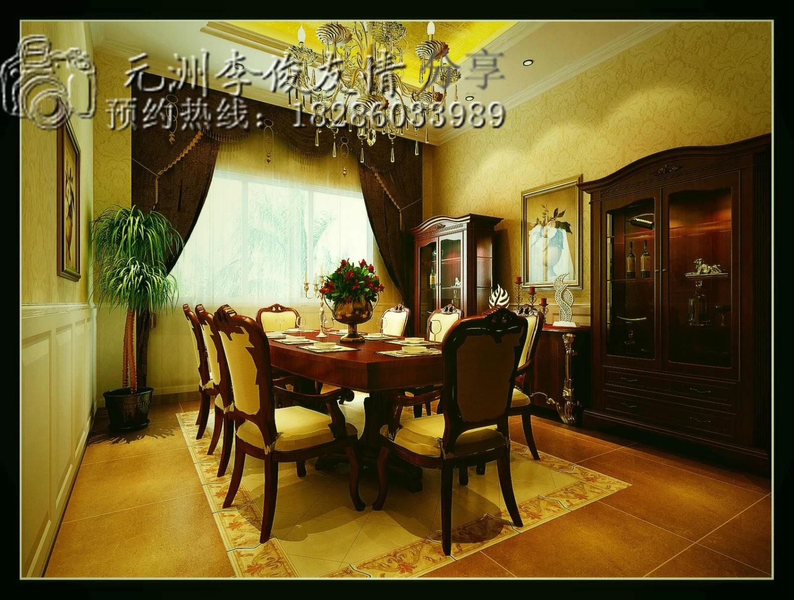 设计作品-500平自建房-欧式巴洛克装修风格--餐厅
