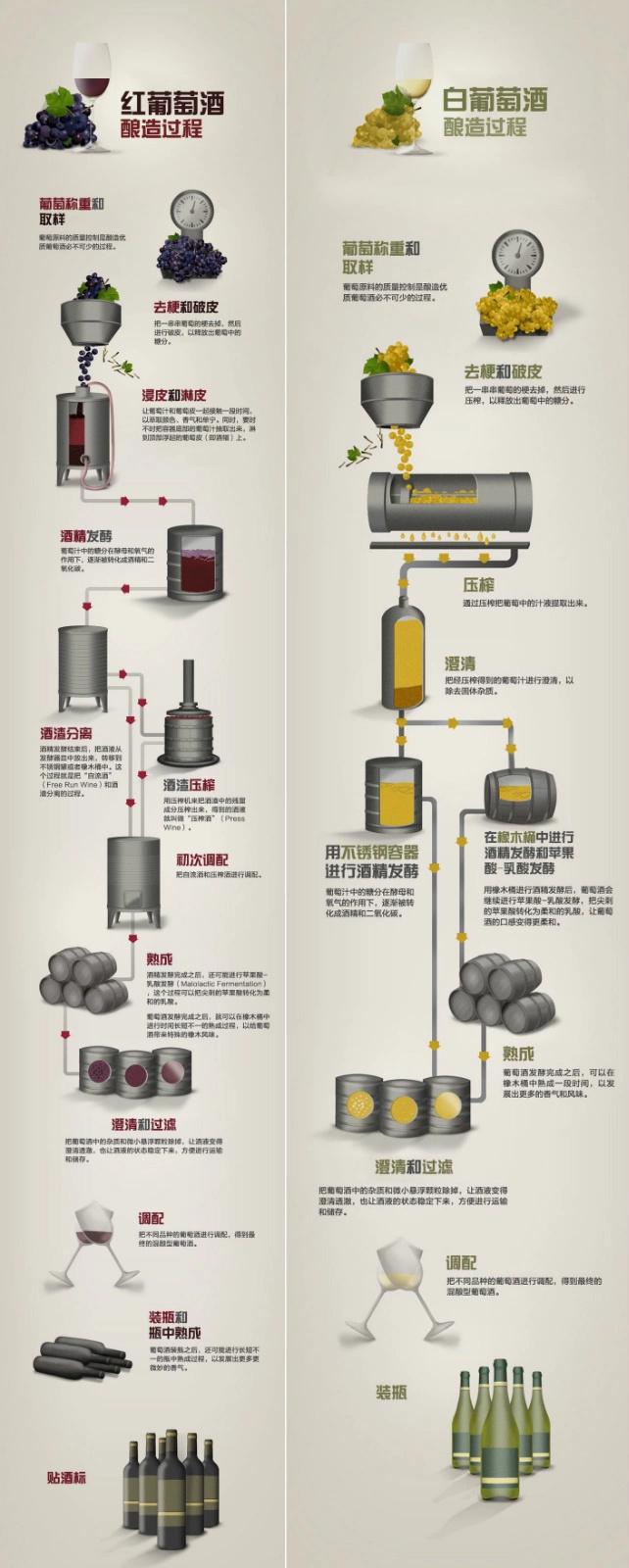 《红酒资讯》为你图解红/白红酒酿造过程之异同