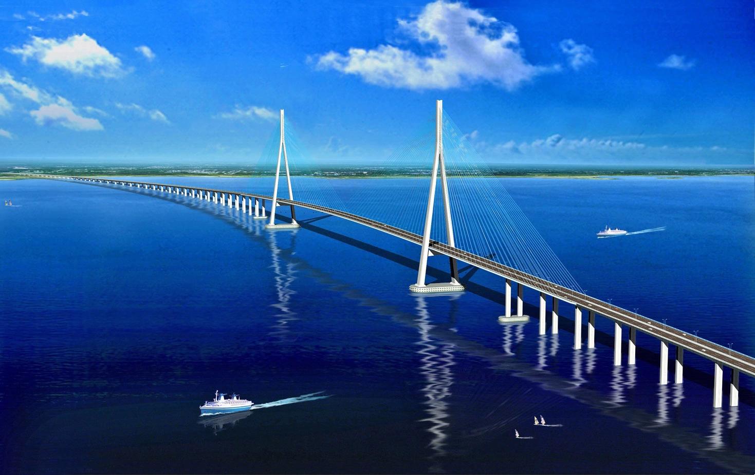 苏通长江公路大桥,位于江苏省东部的南通市和苏州