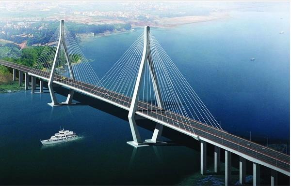 双向六车道,桥面行车道宽度为33米,海门岛到龙海岸桥梁外侧各设2.