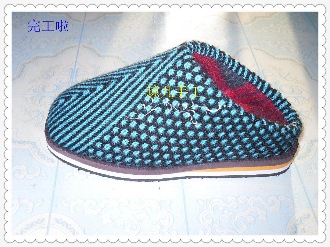 新款棒针编织棉拖鞋加海绵(详细的编织说明及过程)