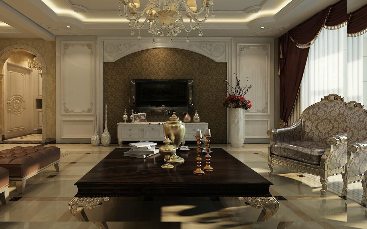 电视墙采用木质护墙板和沙发背景墙遥相呼应