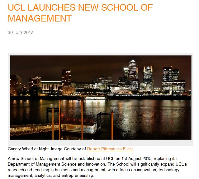 [英国大学快讯]UCL(伦敦大学学院)管理学院正式成立了!!!