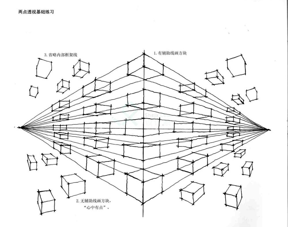 3,单体沙发的一点透视,两点透视各1~3张.