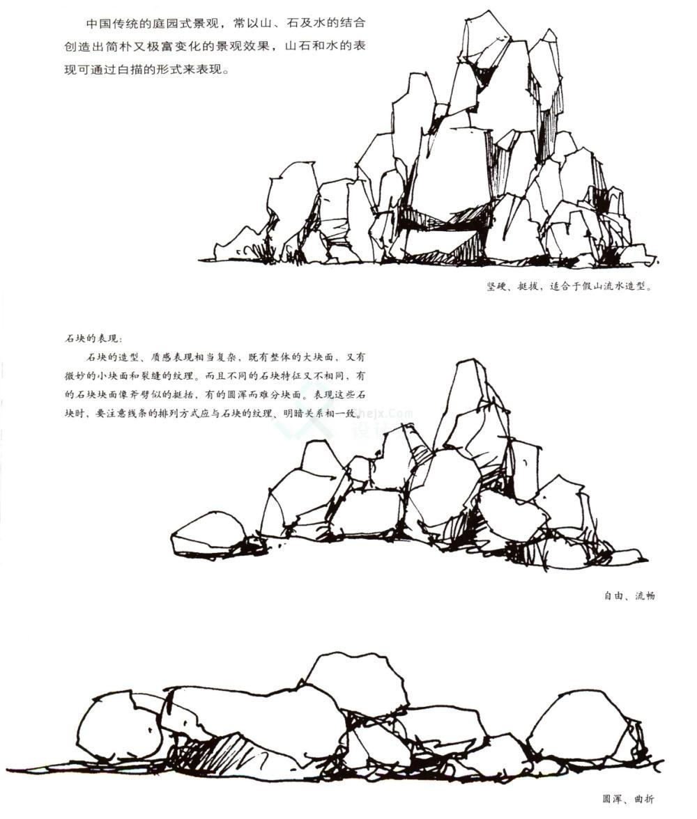 手绘石头及其水景线稿==画法