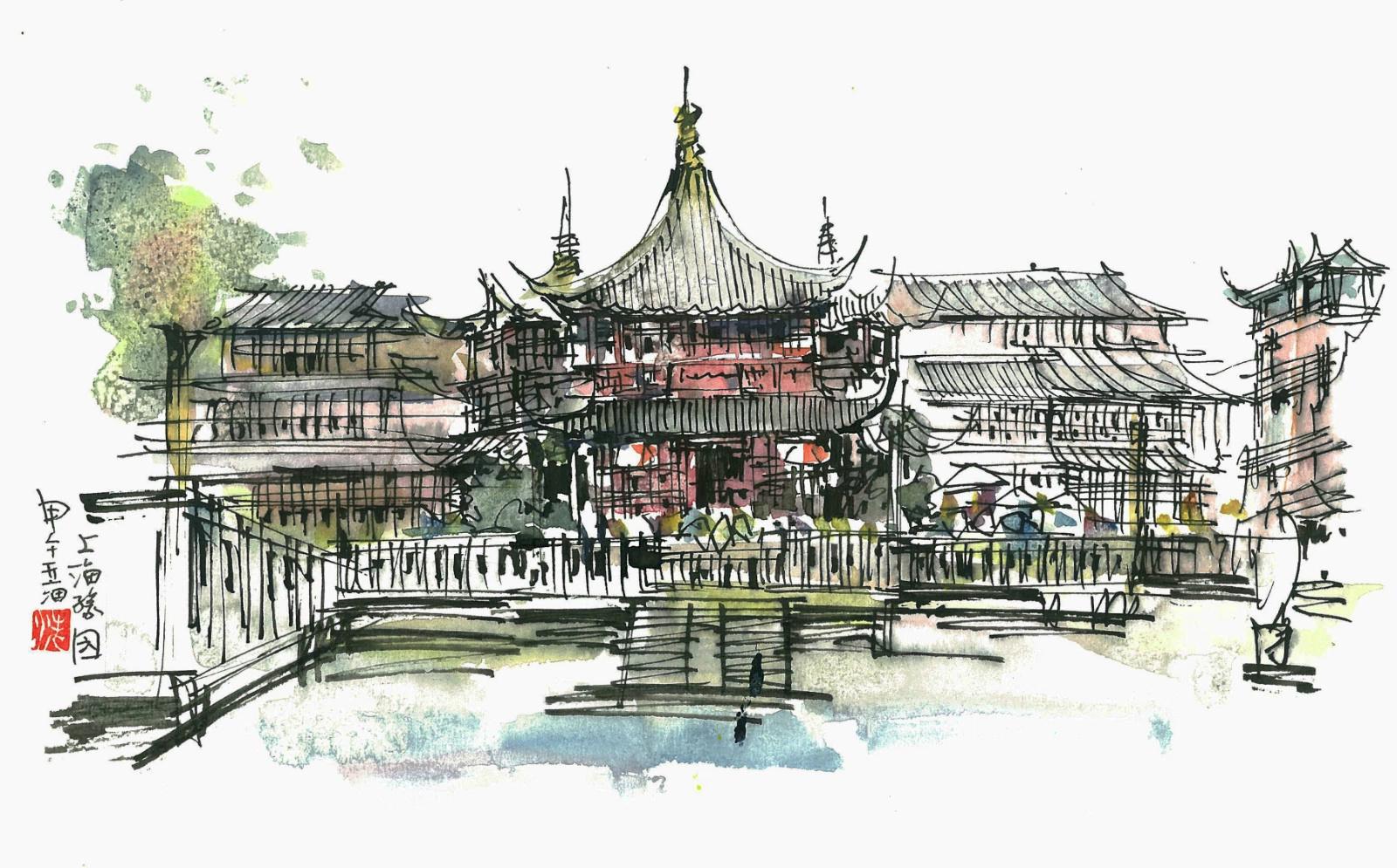 手绘上海建筑明信片发行(1)