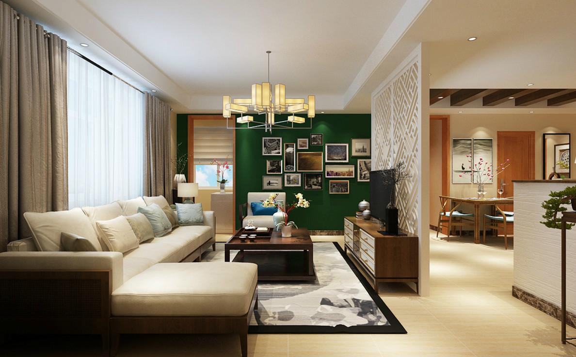 客厅效果-新中式风格-碧景园装修-石家庄实创装饰