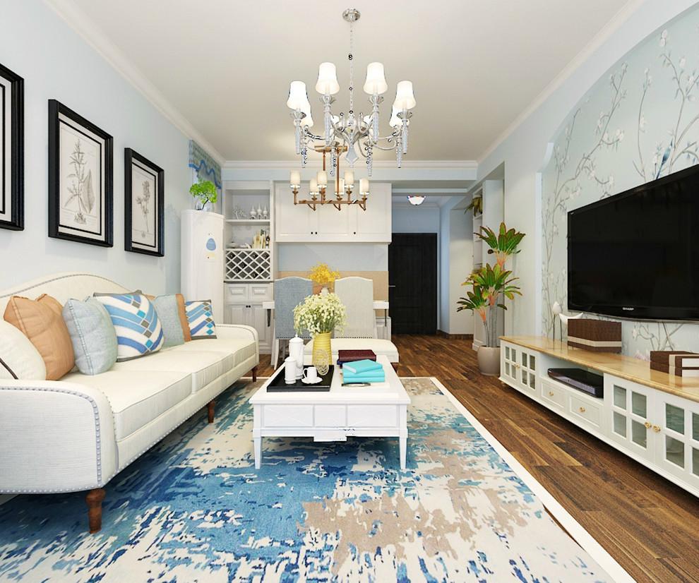 客厅效果-美式风格二居室-启锐园94平米装修-石家庄实创装饰图片