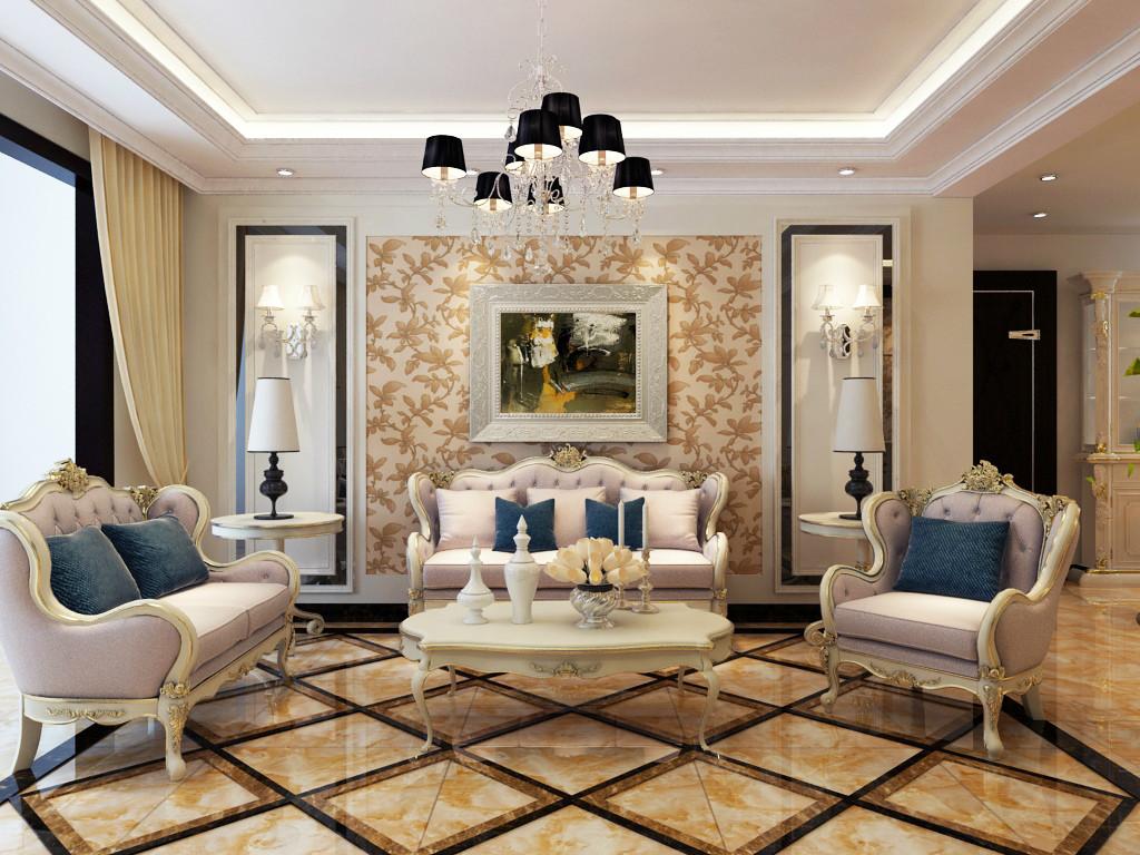 客厅效果-欧式风格客厅效果图-石家庄奥北公元133平米-石家庄实创装饰