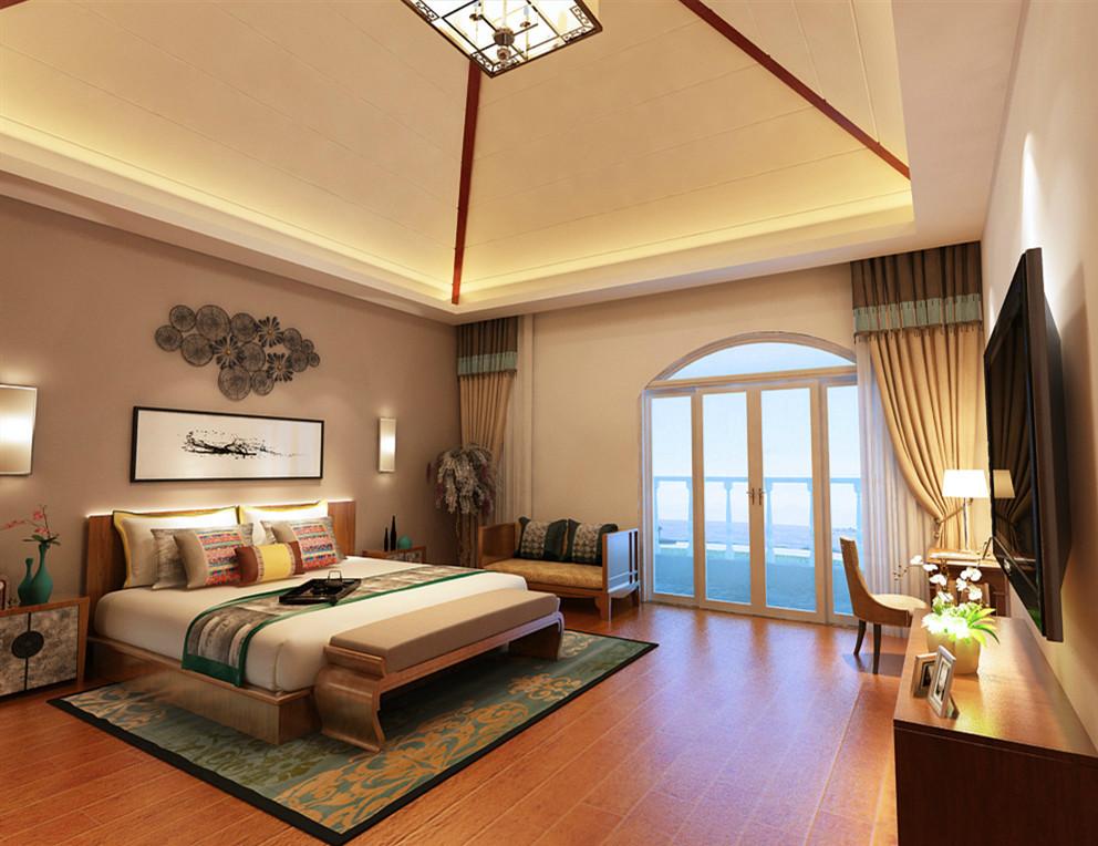 设计理念:主卧室可选用了深木色