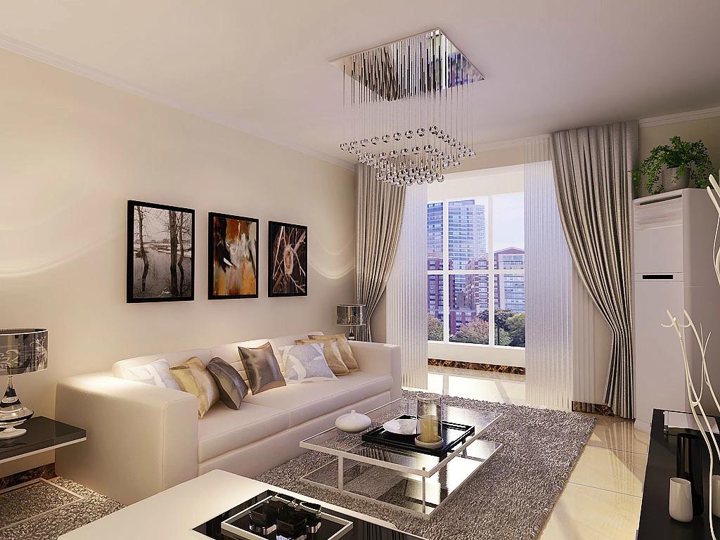 客厅效果图-现代简约风格效果图-众美凤凰绿都装修效果图-石家庄实创图片