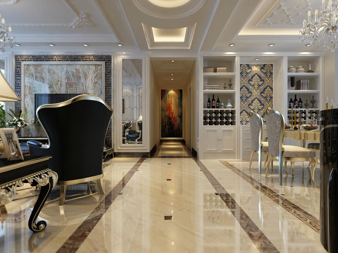 客厅效果-简欧风格效果-润德天悦城装修-石家庄实创装饰 设计理念: 亮点:沙发背景墙暖色调的硬包搭配奢华的壁纸 采用了相对较为偏暖的色调,避免了在居室中产生强烈的对比和色差,让装修出来的整个家居空间,显得豪华大气,更多的是惬意和浪漫。