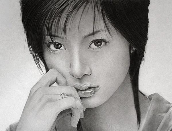 wbr 韩国女画家李洁仪铅笔画