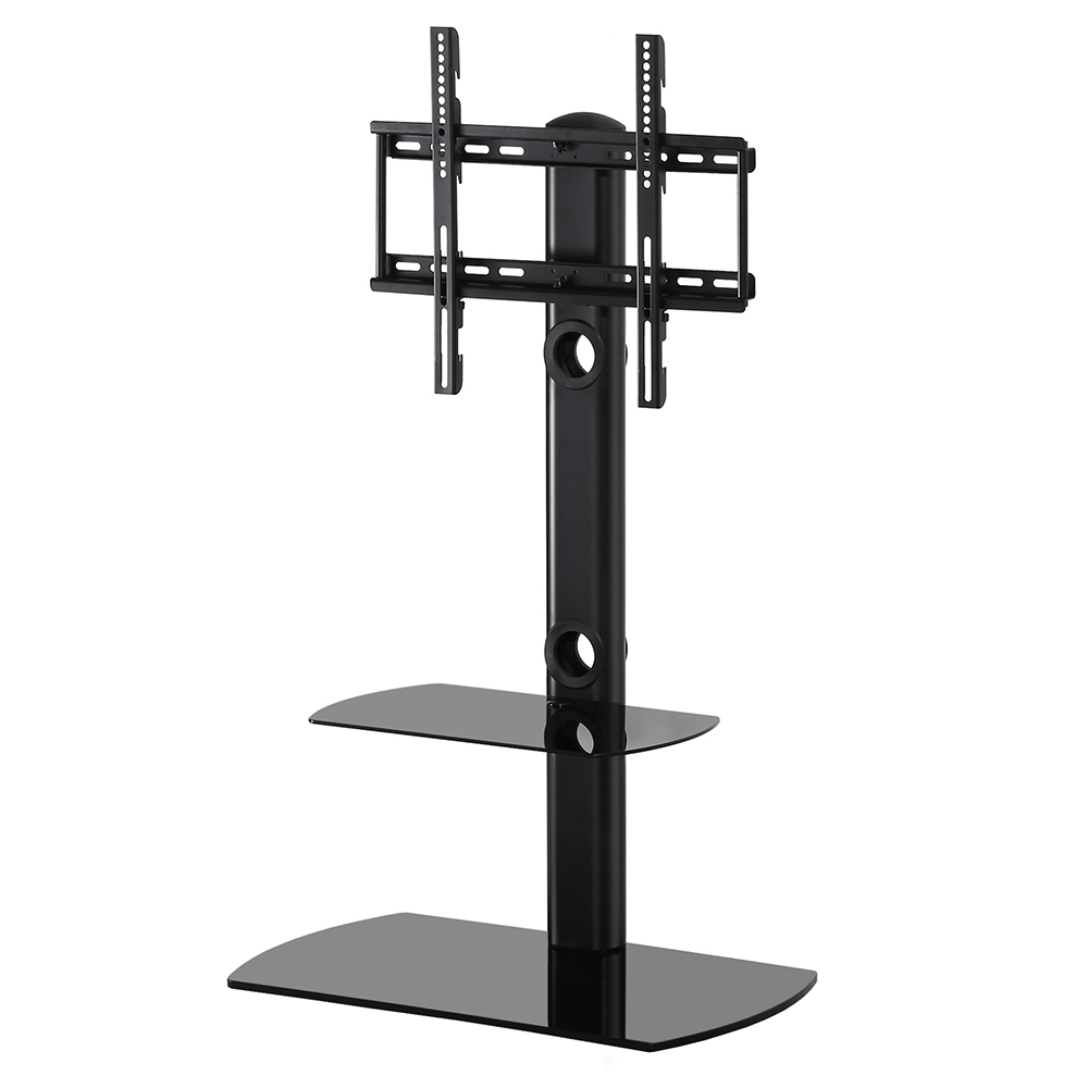 fitueyes floor tv stand with swivel mount component shelf fits 32 50 led lcd tv ebay. Black Bedroom Furniture Sets. Home Design Ideas