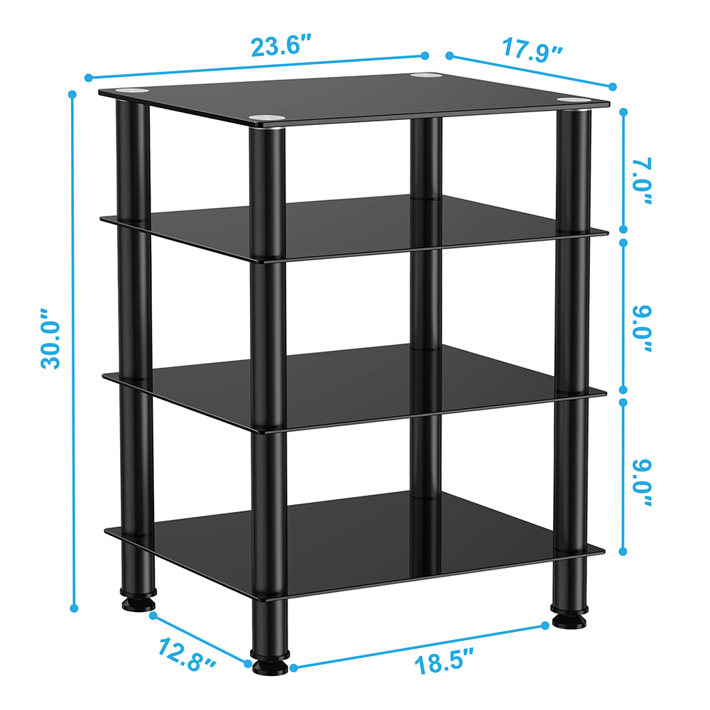 fitueyes audio components rack av tower media stand. Black Bedroom Furniture Sets. Home Design Ideas