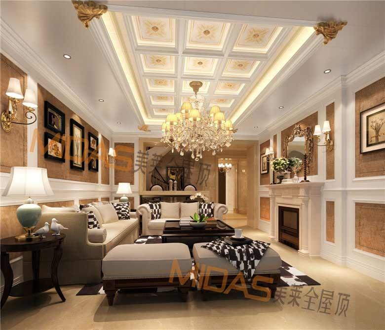 5,美莱欧式风格客厅吊顶:轻奢浪漫,集结尊贵欧式与时尚于一体图片