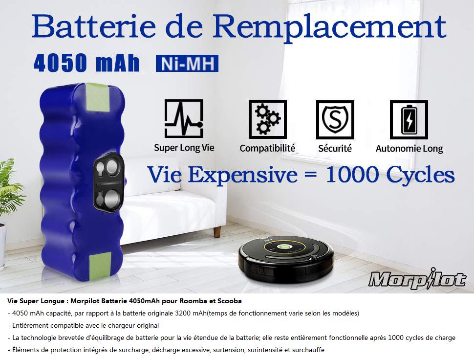 Hannets Chargeur de batterie de haute qualit/é compatible avec iRobot Roomba s/érie 500//600//700