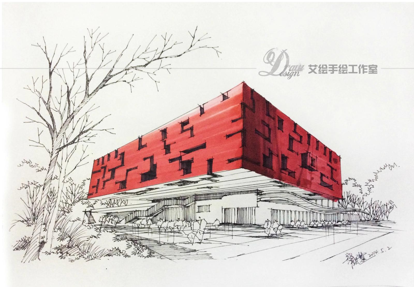 艾绘-建筑景观手绘马克笔步骤分享(一)