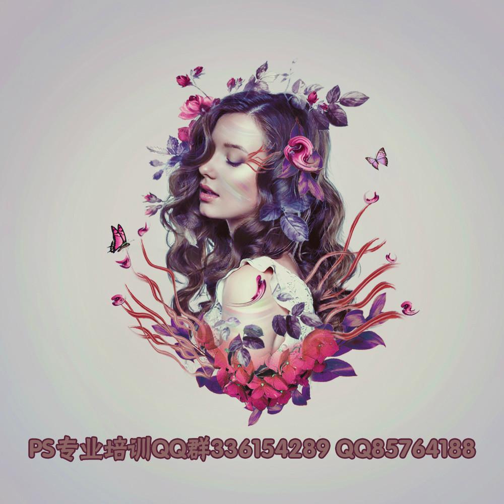 创意设计,利用花卉素材合成一张时尚人像照片
