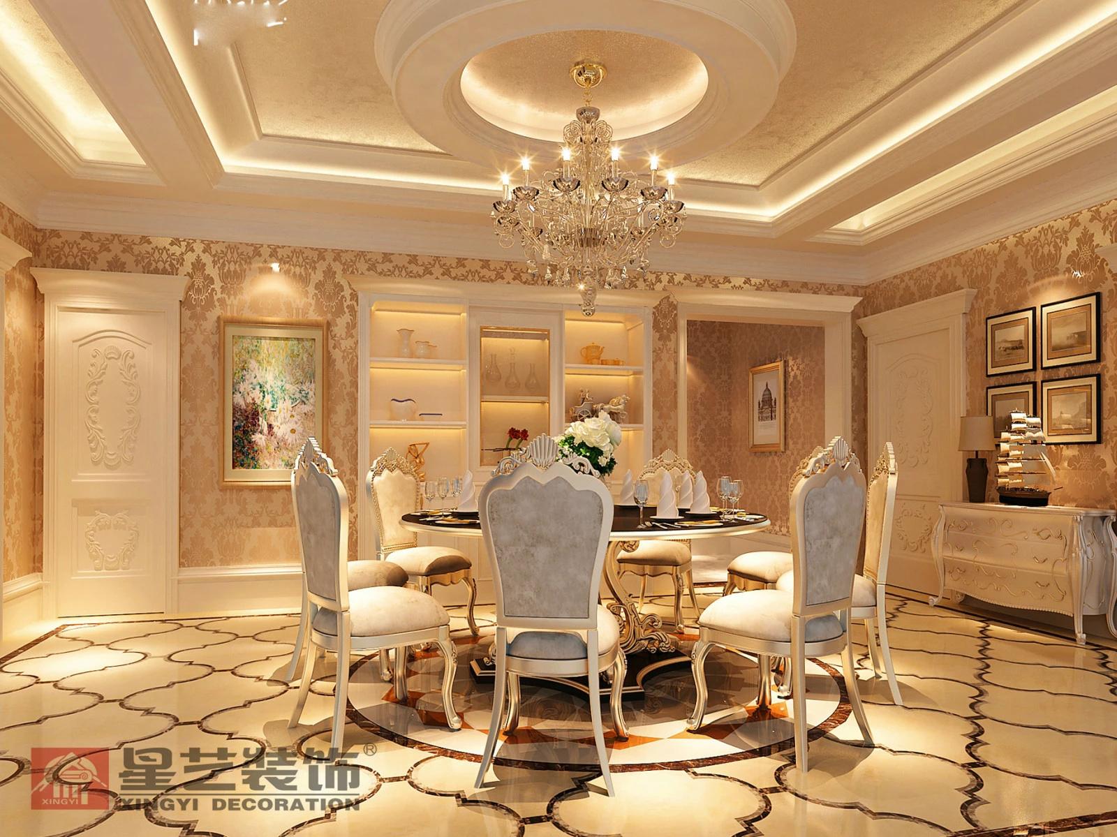 秦皇岛海滨450平米别墅装修后现代奢华风格案例