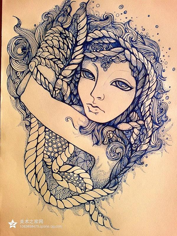 手绘插画的形式多样,有线描,黑白,水粉,水彩,丙烯等.